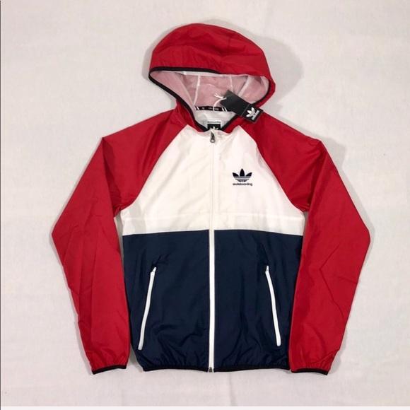 Adidas Jackets Coats Mi Skate Red White And Blue Windbreaker